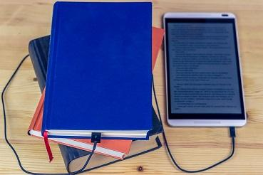 ebook reader and print books